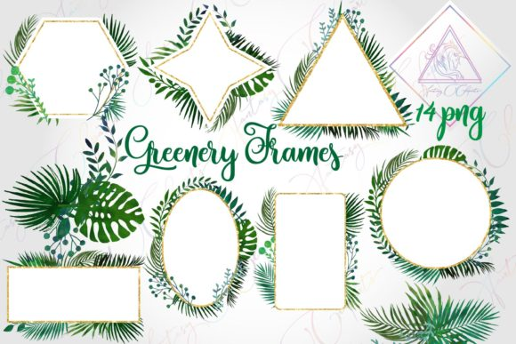 Print on Demand: Watercolor Greenery Frames and Borders Graphic Illustrations By fantasycliparts