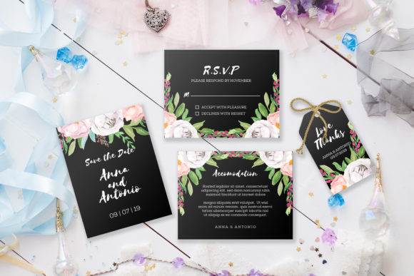 Watercolor Invitations Set Graphic By OrchidArt Image 3