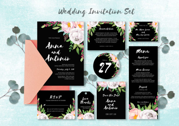 Print on Demand: Watercolor Invitations Set Graphic Print Templates By OrchidArt