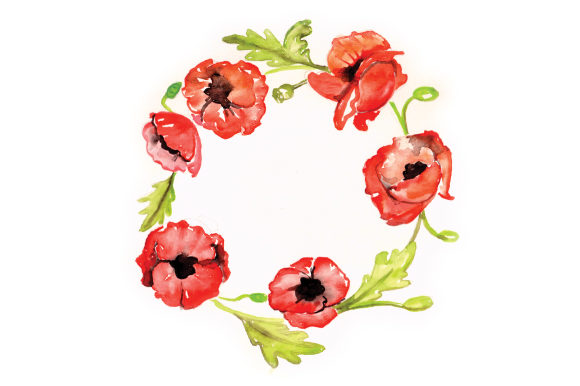 Download Free Watercolor Poppy Wreath Svg Cut File By Creative Fabrica Crafts for Cricut Explore, Silhouette and other cutting machines.