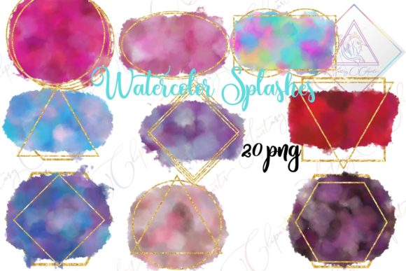 Print on Demand: Watercolor Splashes Clipart Graphic Illustrations By fantasycliparts