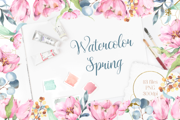 Print on Demand: Watercolor Spring Floral Collection Graphic Illustrations By tatianatroian.art