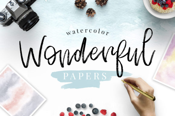 Watercolor Wonderful Papers Graphic Backgrounds By switzershop