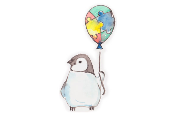 Watercolor Penguin with Autism Baloon Awareness Craft Cut File By Creative Fabrica Crafts