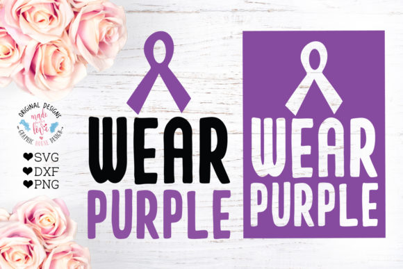 Print on Demand: Wear Purple - Disease Awareness Cut File Graphic Crafts By GraphicHouseDesign