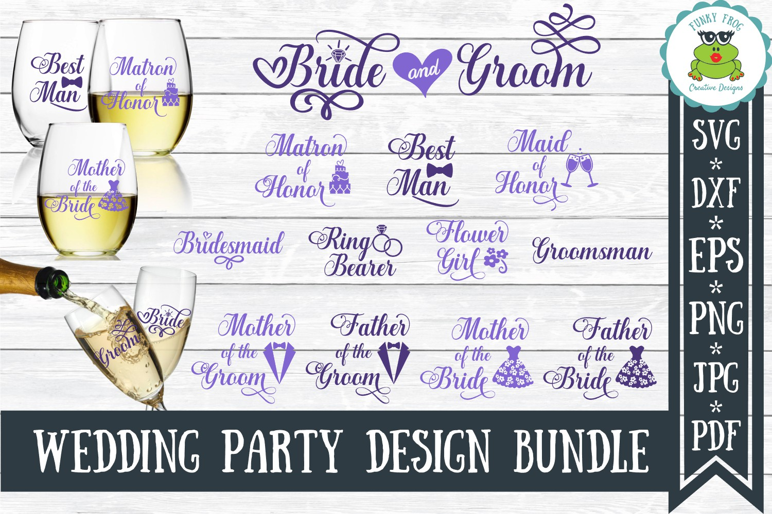 Wedding Party Bundle Graphic By Funkyfrogcreativedesigns