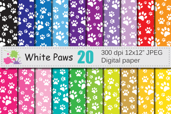 White Paws Digital Papers Graphic Backgrounds By VR Digital Design