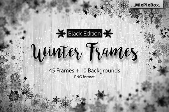 Print on Demand: Winter Frames - Black Edition Graphic Textures By MixPixBox
