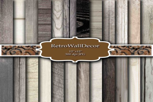 Print on Demand: Wood Digital Paper Graphic Backgrounds By retrowalldecor - Image 1