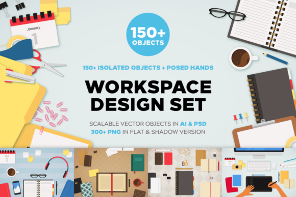 Workspace Design Set Graphic Scene Generators By Creative Fabrica Fonts