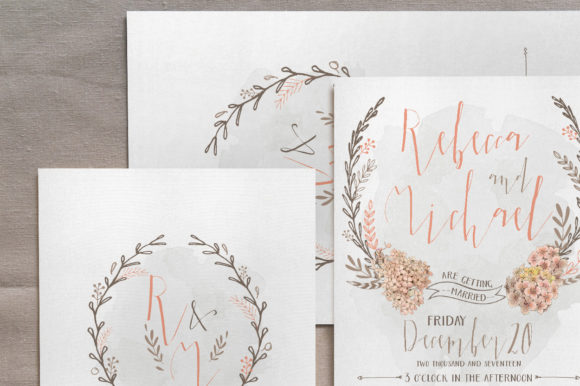 Download Free Wreath Flower Wedding Invitation Suite Graphic By Blue Robin for Cricut Explore, Silhouette and other cutting machines.