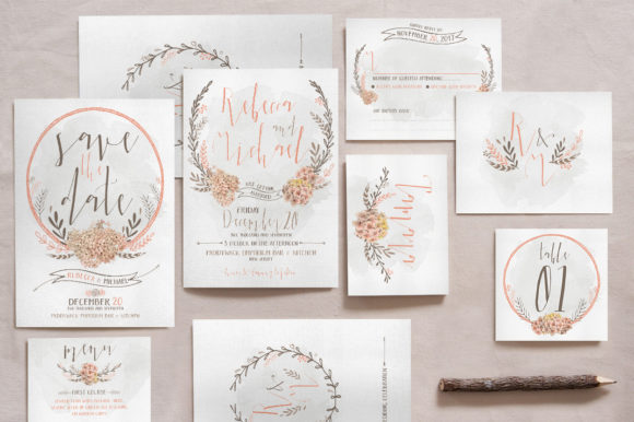 Print on Demand: Wreath & Flower Wedding Invitation Suite Graphic Print Templates By Blue Robin Design Shop
