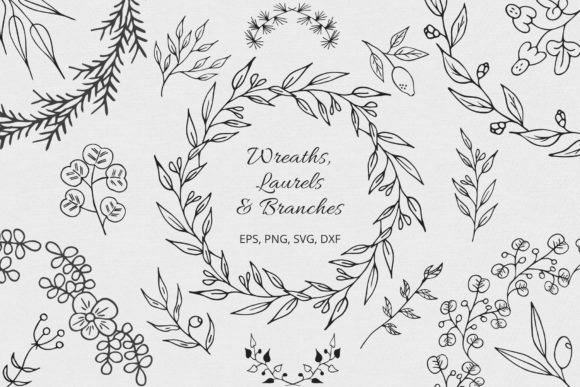 Wreaths, Laurels and Branches Collection Graphic Illustrations By Kirill's Workshop