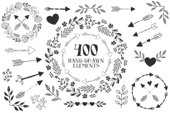 Hearts, Wreaths & Arrows Set Graphic By anatartan Image 2