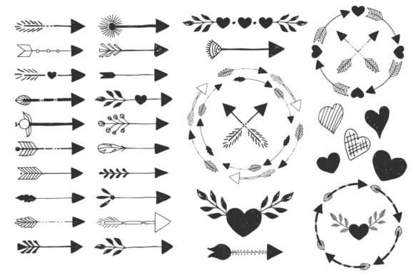 Hearts, Wreaths & Arrows Set Graphic By anatartan Image 3