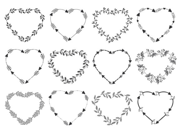 Hearts, Wreaths & Arrows Set Graphic By anatartan Image 5