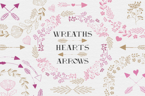 Hearts, Wreaths & Arrows Set Graphic Illustrations By anatartan