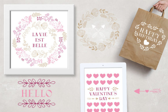 Hearts, Wreaths & Arrows Set Graphic By anatartan Image 8