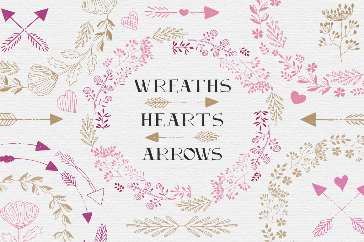 Download Free Hearts Wreaths Arrows Set Graphic By Anatartan Creative Fabrica for Cricut Explore, Silhouette and other cutting machines.