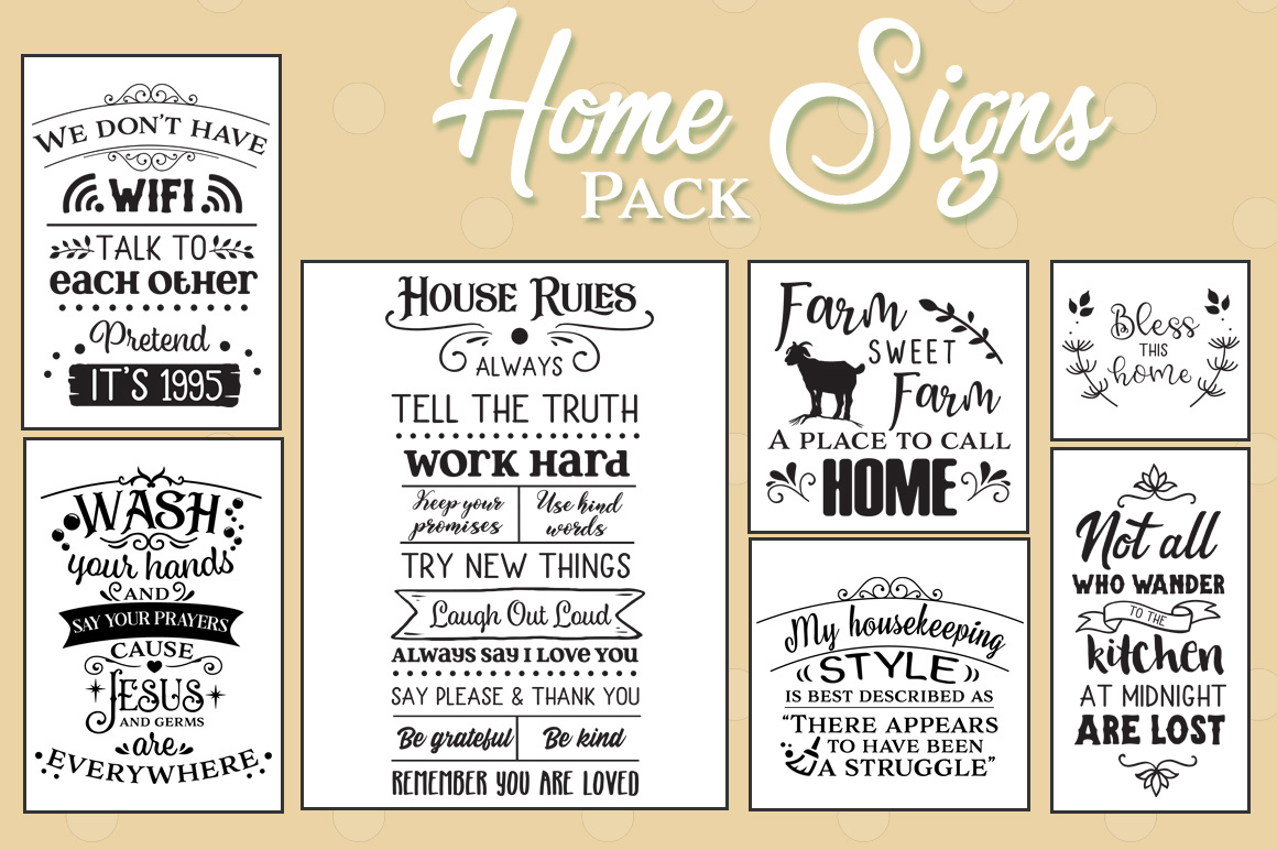 Download Free Home Signs Bundle Graphic By Nerd Mama Cut Files Creative Fabrica for Cricut Explore, Silhouette and other cutting machines.