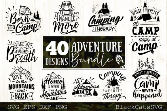 Download Free Adventure Bundle Graphic By Blackcatsmedia Creative Fabrica for Cricut Explore, Silhouette and other cutting machines.