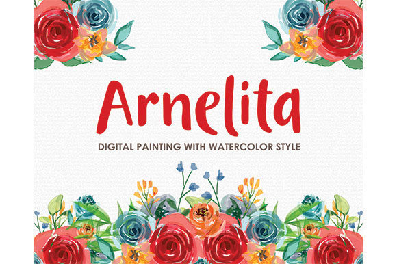 Arnelita - Watercolor Floral Style Clipart Graphic Illustrations By Kagunan Arts