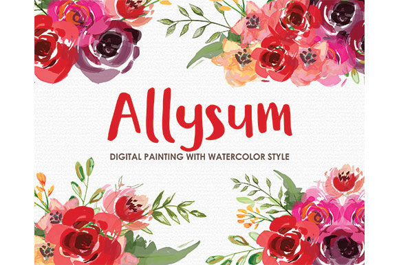 Allysum Watercolor Floral Style Graphic Illustrations By Kagunan Arts