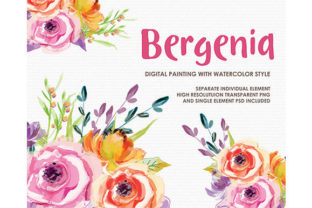 Bergenia Watercolor Floral Style Clipart Graphic Illustrations By Kagunan Arts