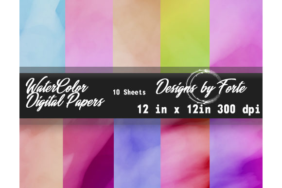 Print on Demand: 10 Watercolor Digital Papers 12 Graphic Textures By Heidi Vargas-Smith