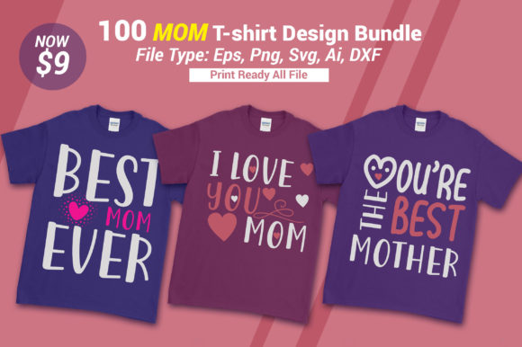 Print on Demand: Mom T-shirt Bundle Graphic Crafts By SubornaStudio
