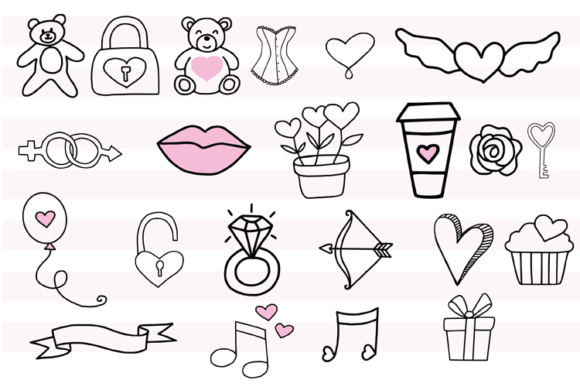 147 Valentines Doodles Graphic Illustrations By carrtoonz - Image 2