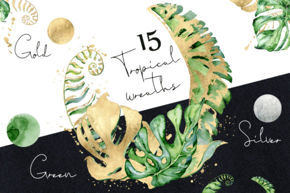 15 Tropical Wreaths Watercolor Graphic By EvgeniiasArt