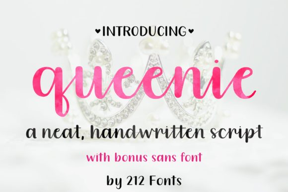 Print on Demand: Queenie Script & Handwritten Font By 212 Fonts