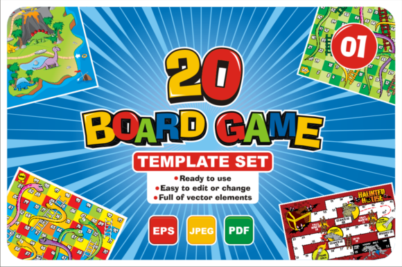 Print on Demand: 20 Boardgame Template Set Graphic Print Templates By azkaryzki