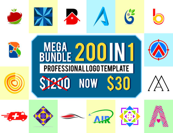 Download Free 200 Premium Logo Template Bundle Graphic By Meisuseno Creative for Cricut Explore, Silhouette and other cutting machines.