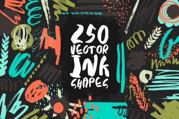 250 Vector Ink Shapes Graphic Textures By Anastasiia Macaluso