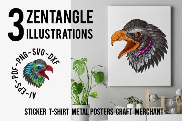Download Free 3 Pack Zentangle Stylized Eagle Head Graphic By Lemoncraft for Cricut Explore, Silhouette and other cutting machines.