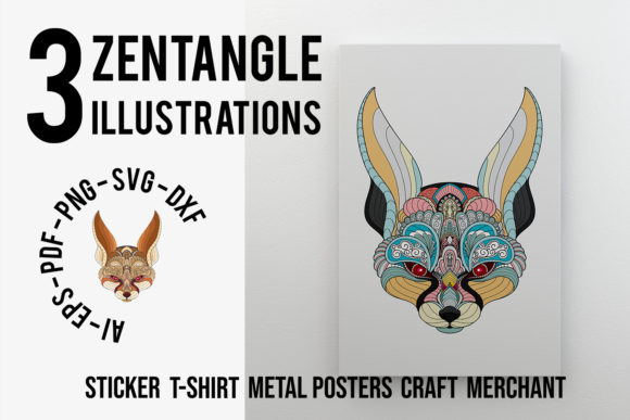 Download Free 3 Pack Zentangle Stylized Fennec Fox Head Graphic By Lemoncraft SVG Cut Files