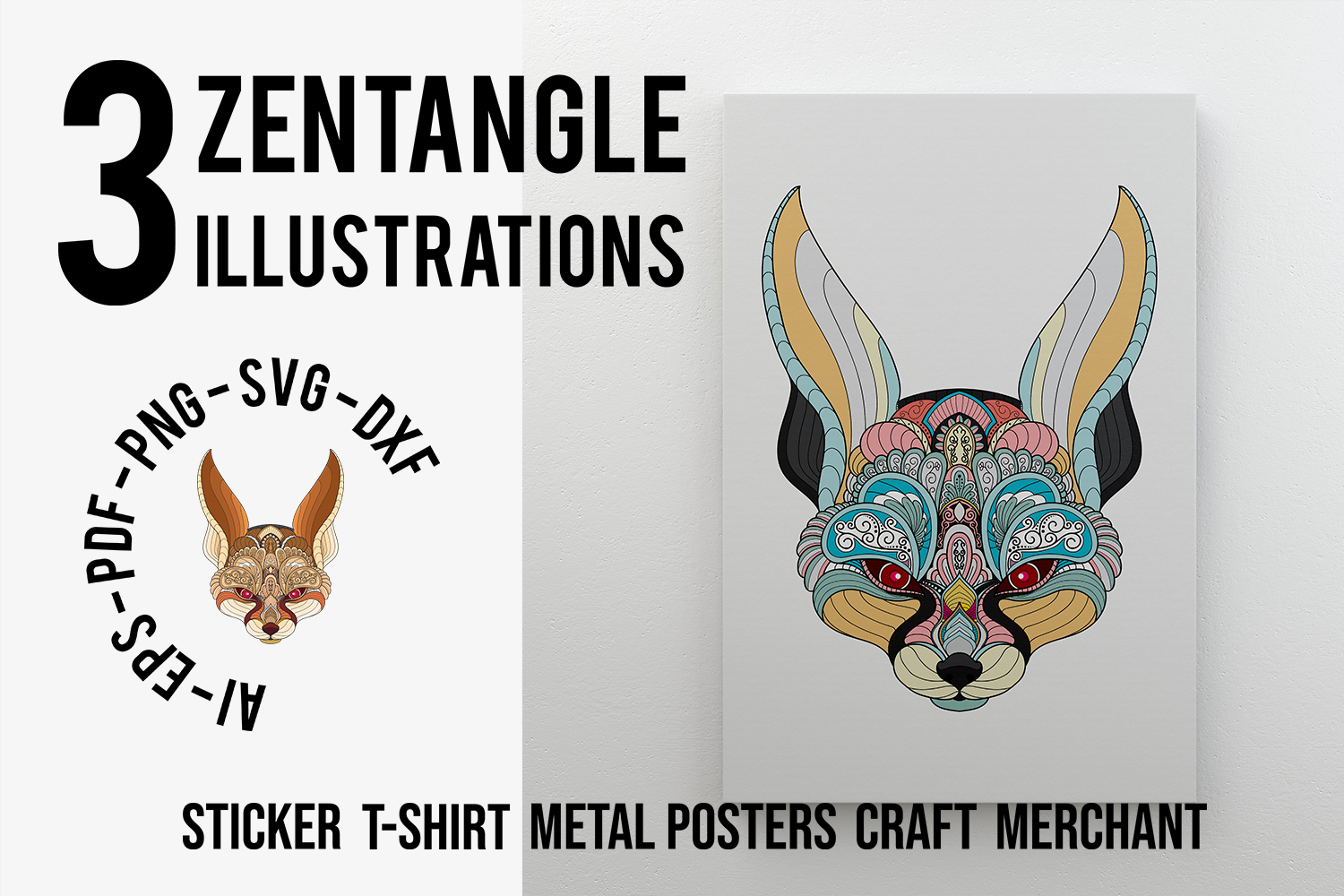 Download Free 3 Pack Zentangle Stylized Fennec Fox Head Graphic By Lemoncraft for Cricut Explore, Silhouette and other cutting machines.