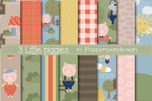 Print on Demand: 3 Little Piggies Paper Graphic Patterns By poppymoondesign