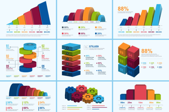 Print on Demand: 3D Business Infographic Elements Graphic Infographics By ContestDesign