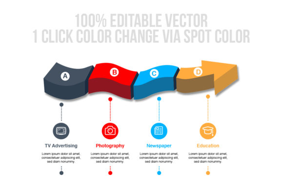 Print on Demand: 3D Vector Arrow Infographics Graphic Infographics By ContestDesign - Image 3