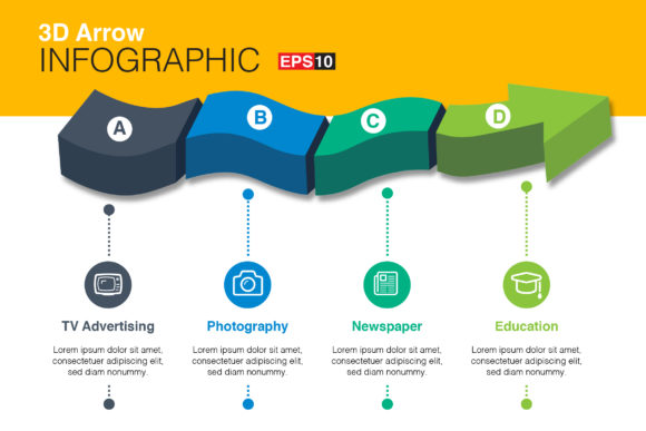 Print on Demand: 3D Vector Arrow Infographics Graphic Infographics By ContestDesign
