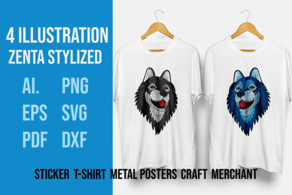 Download Free 4 Pack Zentangle Stylized Siberian Husky Heads Graphic By for Cricut Explore, Silhouette and other cutting machines.