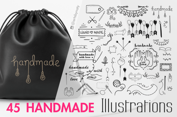 Print on Demand: 45 Handmade SVG Illustrations for Labels and Tags Graphic Illustrations By artsbynaty