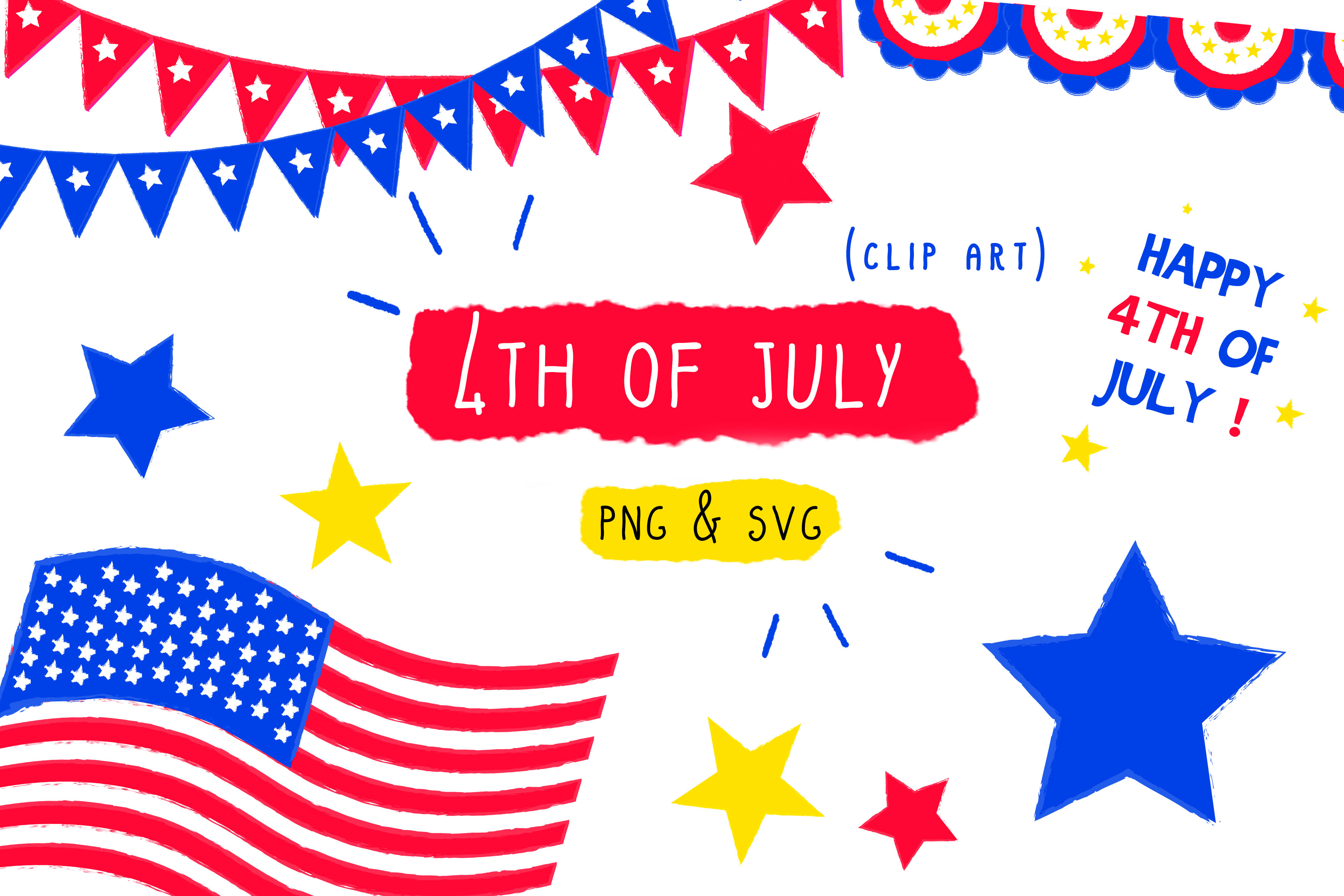 Download Free 4th Of July Usa Clip Art Graphic By Inkclouddesign Creative for Cricut Explore, Silhouette and other cutting machines.