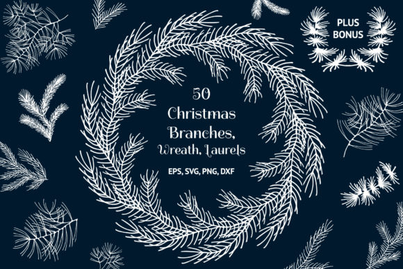 Download Free 50 Hand Drawn Christmas Branches Graphic By Kirill S Workshop for Cricut Explore, Silhouette and other cutting machines.