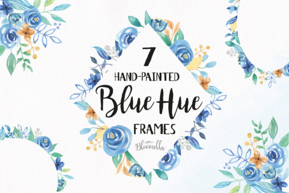 7 Floral Clipart Blue Hue Watercolor Frame Graphic Illustrations By Bloomella