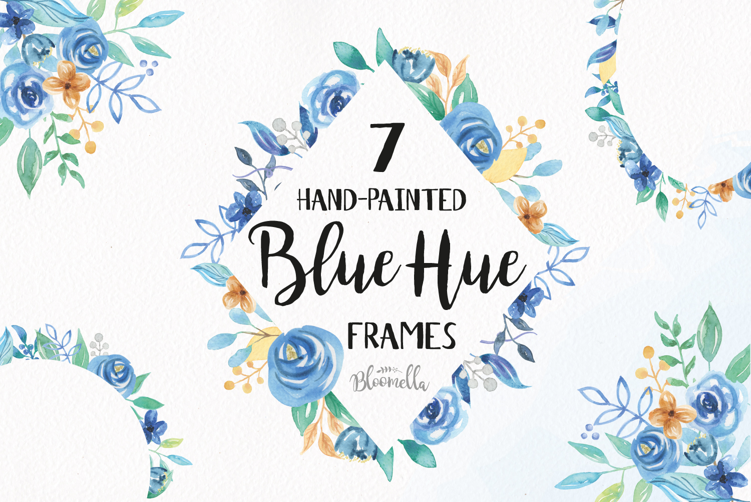 Download Free 7 Floral Clipart Blue Hue Watercolor Frame Graphic By Bloomella Creative Fabrica for Cricut Explore, Silhouette and other cutting machines.
