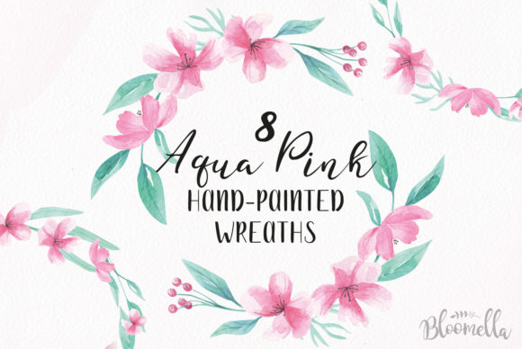 8 Watercolour Aqua Pink Graphic Illustrations By Bloomella
